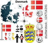 Vector set of Denmark country shape with flags, buttons and icons isolated on white background