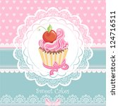 vintage card with cupcake | Shutterstock .eps vector #124716511
