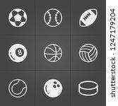 trendy sport  balls icons on... | Shutterstock .eps vector #1247179204