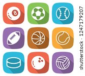sport balls flat icon with... | Shutterstock .eps vector #1247179207