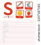 handwriting practice sheet.... | Shutterstock .eps vector #1247187181