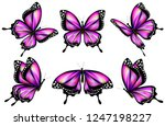 beautiful pink butterflies ...   Shutterstock .eps vector #1247198227