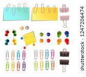 paper clip and pin set    Shutterstock .eps vector #1247206474