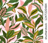 tropical leaves hand drawn... | Shutterstock .eps vector #1247220484