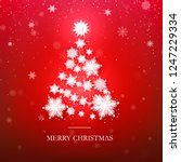 snowflake christmas tree design.... | Shutterstock .eps vector #1247229334