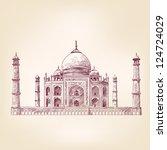 taj mahal  india   vintage hand ... | Shutterstock .eps vector #124724029