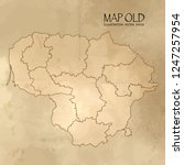 old lithuania map with vintage... | Shutterstock .eps vector #1247257954
