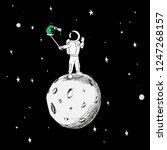 astronaut makes selfie with an...   Shutterstock .eps vector #1247268157