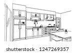 black and white kitchen sketch... | Shutterstock .eps vector #1247269357