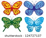 vector. butterflies collection. | Shutterstock .eps vector #124727137