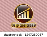 gold shiny badge with growth... | Shutterstock .eps vector #1247280037