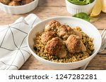 spicy meatballs with spinach... | Shutterstock . vector #1247282281