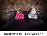 unusual couple has relationship ... | Shutterstock . vector #1247286577