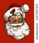 vintage santa claus face red... | Shutterstock .eps vector #1247287531