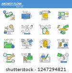 vector set of online money...