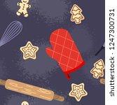 seamless baked sweet food... | Shutterstock . vector #1247300731