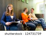 female patient at reception of... | Shutterstock . vector #124731739