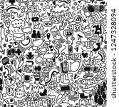 hand drawn doodle seamless... | Shutterstock .eps vector #1247328094