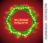 christmas fir wreath circle... | Shutterstock .eps vector #1247332744