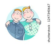 day of fathers. dad and son.... | Shutterstock .eps vector #1247340667