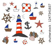 set of pictures on the marine... | Shutterstock .eps vector #1247341837