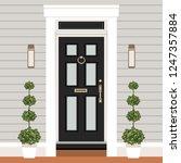 house door front with doorstep... | Shutterstock .eps vector #1247357884