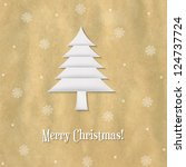 christmas paper card with paper ...   Shutterstock .eps vector #124737724
