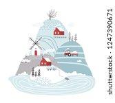 scandinavian winter landscape.... | Shutterstock .eps vector #1247390671