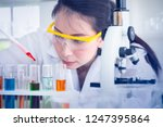 a woman or scientist trying to... | Shutterstock . vector #1247395864