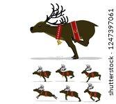 set of running deer on...   Shutterstock .eps vector #1247397061