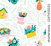 seamless spring pattern with... | Shutterstock .eps vector #1247410231