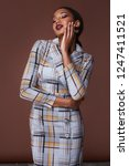 glamour fashion woman long... | Shutterstock . vector #1247411521