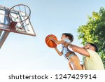 happy father and son playing... | Shutterstock . vector #1247429914
