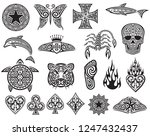tattoo tribal icons set  design ... | Shutterstock .eps vector #1247432437
