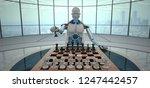 humanoid robot with chessboard... | Shutterstock . vector #1247442457