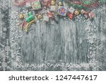 christmas wooden background... | Shutterstock . vector #1247447617