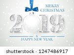 happy new year 2019  silver... | Shutterstock .eps vector #1247486917
