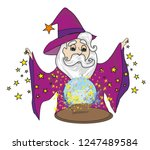 wizard with magical ball | Shutterstock . vector #1247489584