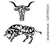tribal bull | Shutterstock .eps vector #124749214