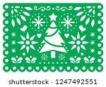 christmas papel picado vector... | Shutterstock .eps vector #1247492551