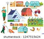 big vector farm set. country... | Shutterstock .eps vector #1247515624