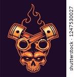 vector skull with crossed... | Shutterstock .eps vector #1247530027