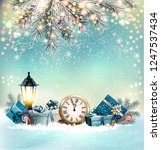 merry christmas background with ... | Shutterstock .eps vector #1247537434