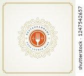 restaurant logo design vector... | Shutterstock .eps vector #1247542657