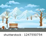Winter Day Park Vector...