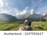 traveler man with backpack... | Shutterstock . vector #1247552617