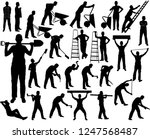big set of vector silhouettes... | Shutterstock .eps vector #1247568487
