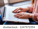white woman's hands with... | Shutterstock . vector #1247572594