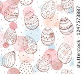 easter background with eggs...   Shutterstock .eps vector #1247573887