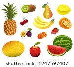 fruit  pineapple  melon ... | Shutterstock .eps vector #1247597407